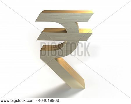 Indian Rupee Sign Isolated In White Background, 3d Rendering