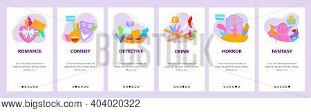 Film Genres. Romance, Comedy, Detective, Crime, Horror, Fantasy. Mobile App Screens, Vector Website