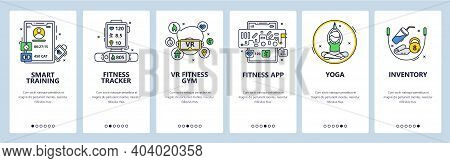 Smart Training. Fitness Tracking App, Vr Gym, Yoga, Sport Inventory. Mobile App Screens, Vector Webs