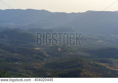 Mountains Landscape With Olive Trees In The Natural Park Of