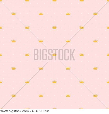 Abstract Seamless Pattern With King, Princess Crowns. Vector Illustration Eps10