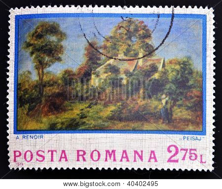 ROMANIA - CIRCA 1974: A stamp printed in Romania shows picture Landscape by Auguste Renoir circa 197