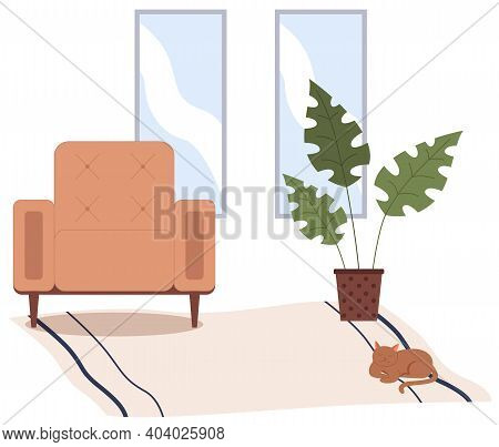 Brown Armchair, Potted Plant On Carpet With Cat. Living Room Furniture Design, Modern Home Interior