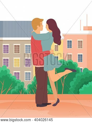 Couple In Love. Man And Woman Embracing Each Other Affectionately. Meeting Of Enamored People. Vecto