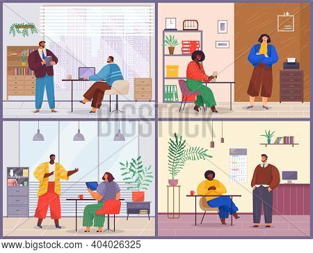 Office Executive Employees Do Different Duties. Men And Women Use Devices. Cozy Rooms, Cabinet, Book