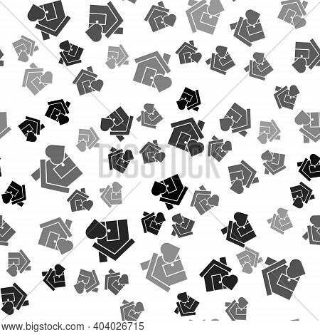 Black House With Heart Shape Icon Isolated Seamless Pattern On White Background. Love Home Symbol. F