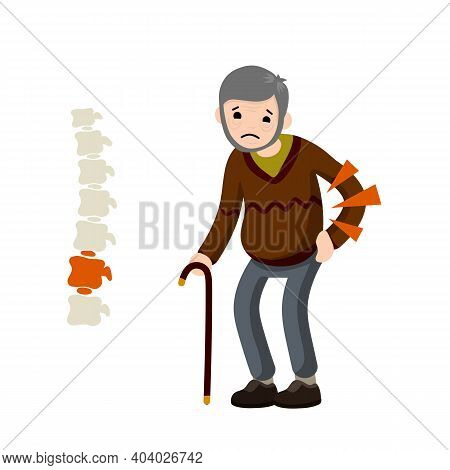 Old Man And Backache. Bones Of Spine. Medical Care. Red Spot On Skeleton. Sad Character With Cane. C