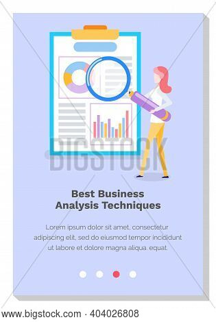 Woman Studies Best Business Analysis Techniques And Works. Girl With Giant Magnifying Glass Examines