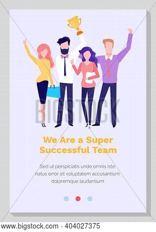 Super Successful Team Vector Illustration. Teamwork In Business World. Website Landing Page Template
