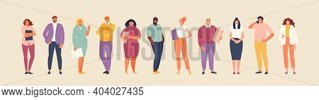 Business People Group In Office Clothes. Multinational Team Of Different Age And Appearance. Vector