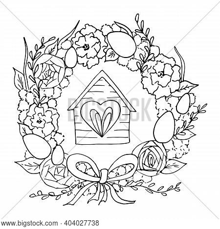Scetch Of Easter Wreath Of Flowers Decorated With Painted Eggs, Ribbon And House With A Window. Vect