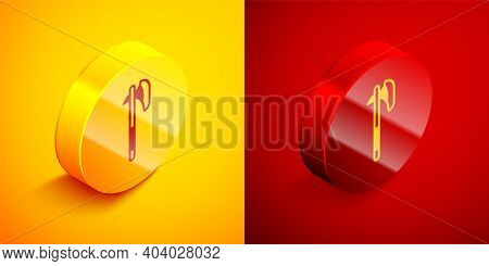 Isometric Medieval Axe Icon Isolated On Orange And Red Background. Battle Axe, Executioner Axe. Medi