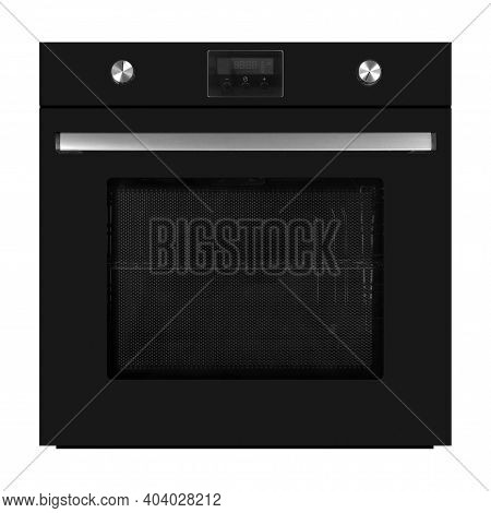 Household Appliances - Black Electrical Oven With Display Isolated On A White Background.
