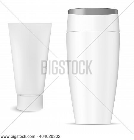 Shampoo Bottle Cosmetic Package, Cream Tube Product, Isolated 3d Vector. White Plastic Hair Shampoo