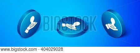 Isometric Hand For Search A People Icon Isolated On Blue Background. Recruitment Or Selection Concep