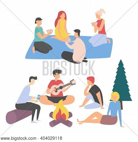 Friends Spending Summertime Together Vector, Happy Adult People Playing Cards Sitting On Blanket, St