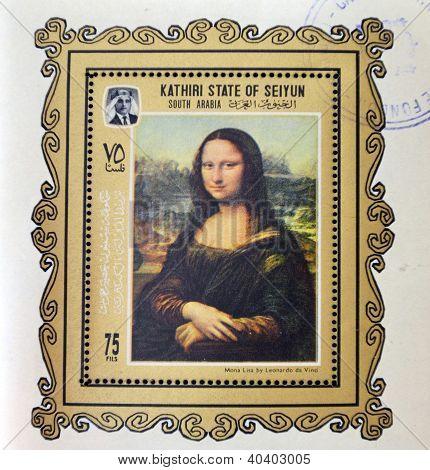 KATHIRI STATE OF SEYYUN - CIRCA 1970: A stamp printed in South Arabia shows Mona Lisa or La Gioconda