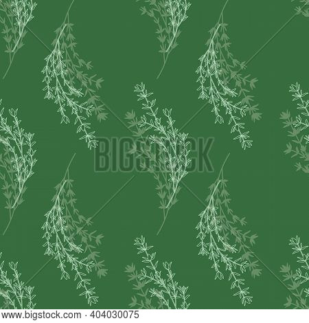 Seamless Background With Thyme Sprigs. White Sprigs Line Art On Green Background.