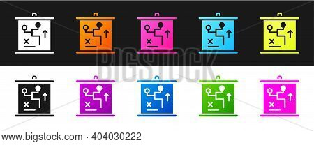 Set Planning Strategy Concept Icon Isolated On Black And White Background. Cup Formation And Tactic.