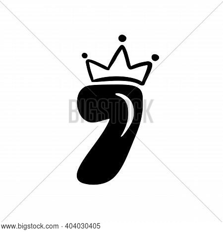 Vector Vintage Plump Cute Number 7 With Crown. Princess Element Seven Font Logo. Valentine Hand Draw