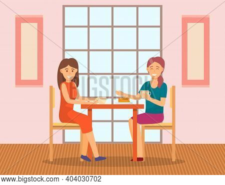 Tasty Bun-fight With Female Friends. Young Women Are Drinking Tea With Cake And Communicating. Carto