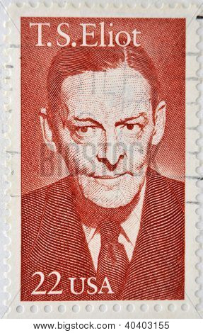 UNITED STATES OF AMERICA - CIRCA 1986 : stamp printed in USA show Thomas Stearns Eliot an American-b