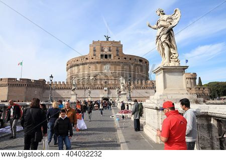 Rome, Italy - April 9, 2012: People Visit Saint Angel's Bridge (ponte Sant'angelo) In Rome. Accordin