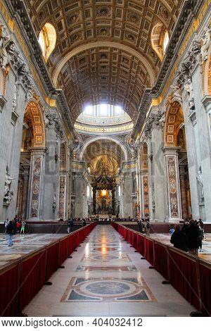 Rome, Italy - April 9, 2012: Saint Peter's Basilica (basilica San Pietro) Interior In Rome. It Is Co