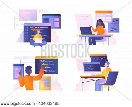 Set Of Diverse Programmers Or Coders Working On Web Development On Computers. Concept Of Script Codi