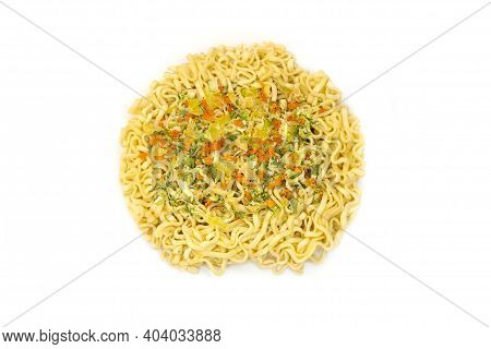 Raw Instant Noodles On A White Background