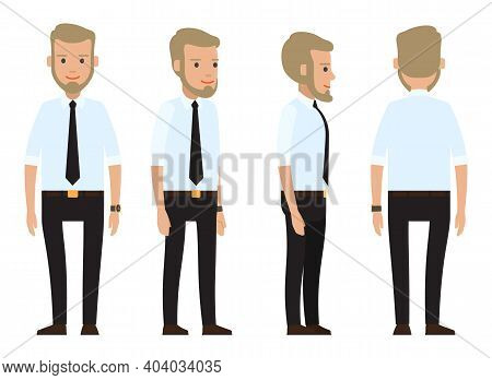 Collection Of Vector Cartoon Character. Businessman Wearing Suit With Black Tie, White Shirt, Belt,