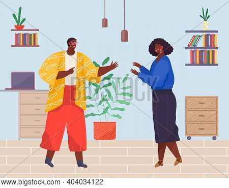 Meeting Of Black African People, Woman And Man Greeting Each Other, Workers Or Colleagues Meet In Of