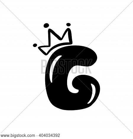 Vector Plump Vintage Cute Letter G With Crown. Princess Element Font Logo. Valentine Hand Drawn Alph
