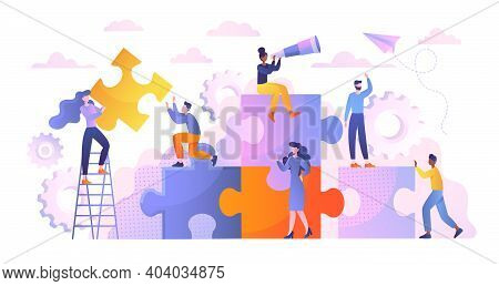 Business Concept. Team Metaphor. Diverse Multiracial People Connecting Puzzle Elements. Symbol Of Te
