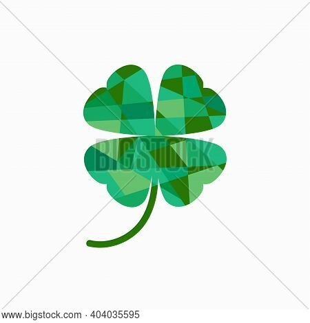 Four Leaf Clover Icon In Simple Faceted Design Style. Geometry Style. Isolated On White. St Patrick'