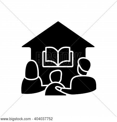 Homeschooling Family Glyph Icon. Parents And Child Spend More Time Together. Online Education Concep