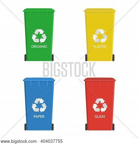 Recycle Wheelie Bin Set Icon. Garbage Or Trash Cans. Ecology Concept. Containers For Recycling Waste