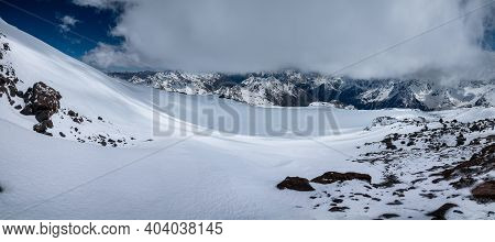 Alpine Panorama Of Snow-covered Slope Fields For Freeride And Ski Touring. Ground In The Snow. Horiz