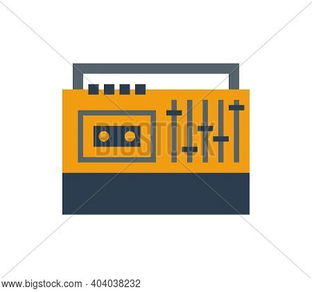 Flat Tape Recorder In Retro Style On White Background Vector Illustration