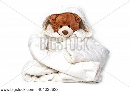 Plush Stuffed Toy Dressed In Childs Big White Jaket. Soft Teddy Bear Prepared For Winter Or Autumn C