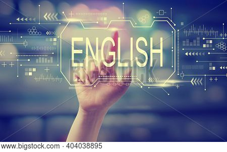English Concept With Hand Pressing A Button At Night