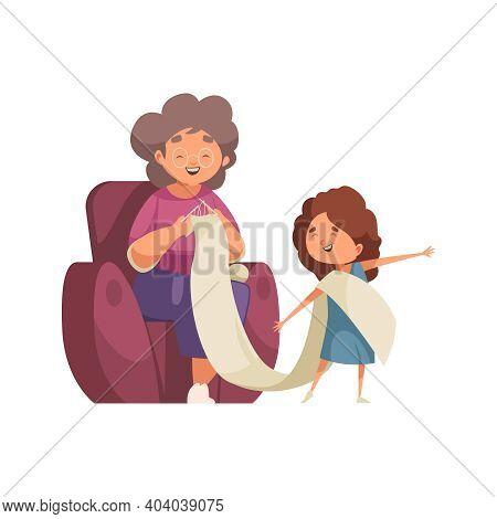 Grandma And Granddaughter Knitting Together Flat Vector Illustration