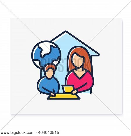 Geography Lesson Color Line Icon. Child Teaches Geographics With Mother. Home Education Concept. Dis