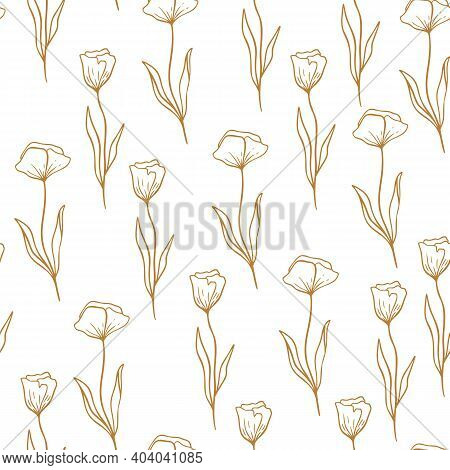 Poppy Flower Pattern In Line Style. Floral Seamless Hand Drawn Ornament. Modern Doodle Repeat Patter