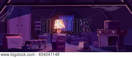 House Attic At Night, Storage Of Old Furniture And Items Under Roof. Vector Cartoon Interior Of Dark