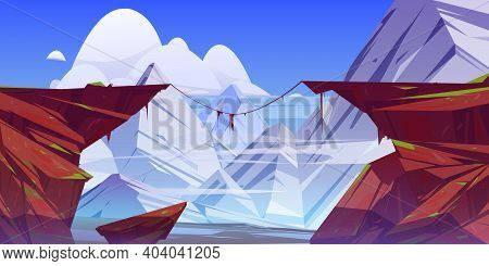 Mountain Landscape With Precipice In Rocks And Snow Peaks On Background. Vector Cartoon Illustration