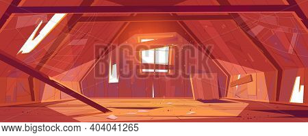 Abandoned House Attic Interior, Empty Old Mansard Room, Spacious Place With Holes And Spider Web On