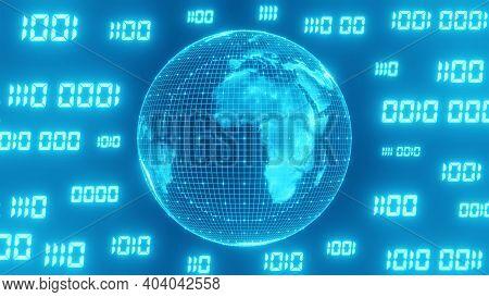 Binary Code Surrounds The Sci-fi Blue World. Concept Of Computer Programming Code And Futuristic Tec