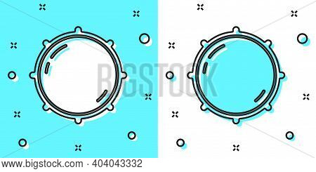 Black Line Dial Knob Level Technology Settings Icon Isolated On Green And White Background. Volume B