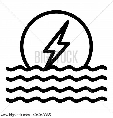 Hydro Eco Power Icon. Outline Hydro Eco Power Vector Icon For Web Design Isolated On White Backgroun